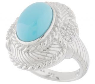 Judith Ripka Sterling Oval Turquoise Ring —