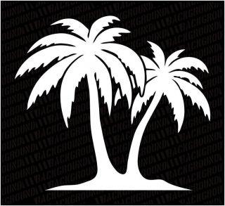 Cool Double Palm Tree Decal Hawaiin Sticker Island Tree Design T1