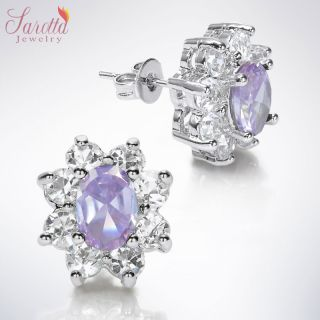 Fashion Jewelry Lady 1 Oval Cut Purple Tanzanite White Gold GP Stud
