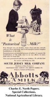 One Pint Glass Milk Bottle, Abbotts Dairies, New Jersey, Raised Script