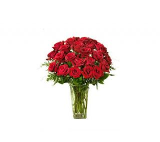 Two Dozen Long Stemmed Red Roses with Vase by ProFlowers —