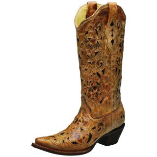 Corral Ladies Antique Saddle & Chocolate Inlay Cowgirl Boots A1970