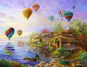 Balloons Over Cottageville Jigsaw Puzzle 1000+ Piece Nicky Boehme