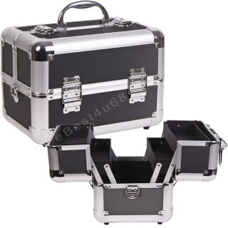 Silver Dot Makeup Cosmetic Train Case Aluminum 2 Trays AB2 5 C02 Black
