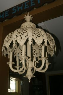 HUGE ANTIQUE GOTH GOTHIC ART DECO CHANDELIER MEDIEVAL VICTORIAN TOLE