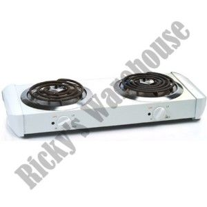 Electric Double Dual Burner Hot Plate Portable Countertop Travel Stove