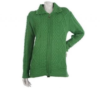 Aran Craft Merino Wool Zip Front Cardigan with Ribbed Collar