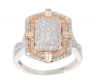 AffinityDiamond 1.00 ct tw Art Deco Design Rose & White 14K Gold Ring