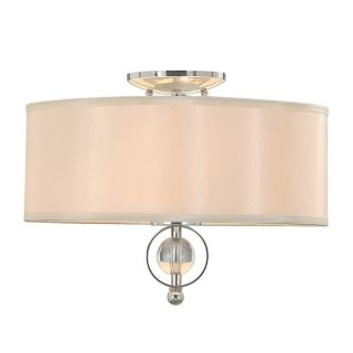 NEW 2 Light Flush Mount Ceiling Lighting Fixture, Chrome Opal Satin