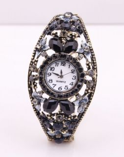 Costume Jewelry Crystal Rhinestone Flower Open Alloy Cuff Bangle Watch