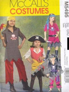 Pattern Sewing McCalls Girl Costume Pirate; Top Pants Sash Size 7 14