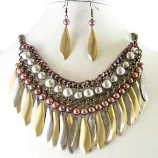 Silver Gold Copper Bib Earrings Necklace Set Costume Fashion Jewelry