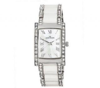 AK Anne Klein Womens Swarovski Crystal White Ceramic Watch —