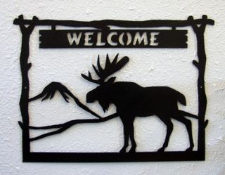 Moose Welcome Sign Rustic Metal Art Hunting Lodge Decor