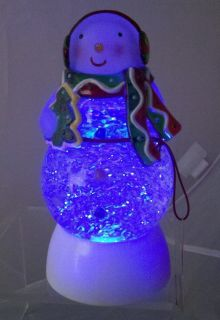 Hallmark Lighted Color Changing Motion Snowman Snow Globe Dome Moving