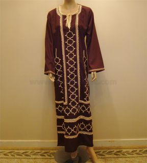 Islamic Brown Jilbab Dress Kaftan Embroidered Egyptian Cotton M