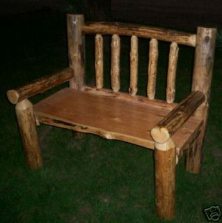 Rustic Pine Log Yard Garden Bench Lodge Cabin Furniture