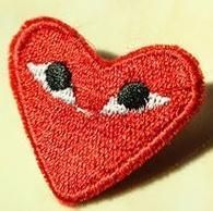 One Comme Des Garcons CDG Play Logo Heart Pin Red