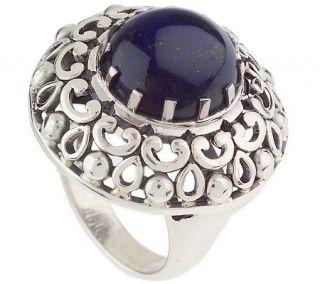 Artisan Crafted Sterling Bold Lapis Gemstone Ring —