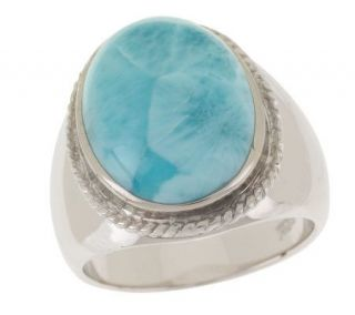Sterling Bold Oval Larimar Ring —