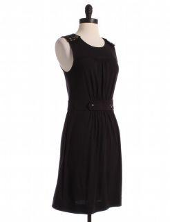 Juicy Couture Black Shoulder Button Detail Shift Sz s Dress Tank