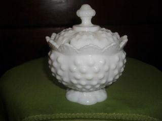 Fenton Milk White Hobnail Jam Jar with Lid