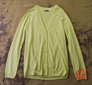 Crew Lime Green Wool Knit Boyfriend Cardigan Sweater Tunic Top