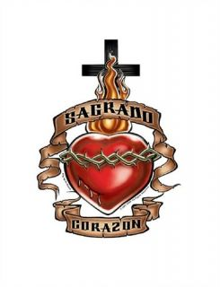 Sagrado Corazon Cross Heart Christian T Shirt Hoodie Sweatshirt Long