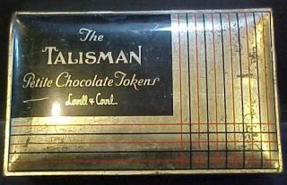 Lovell Covel Boston USA Talisman Chocolate vintage candy tin box