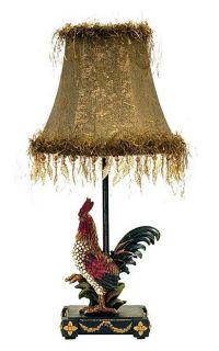Petite Rooster Colorful French Country Table Lamp Fringe Shabby