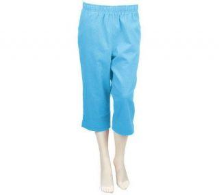 Denim & Co. Classic Waist Pull on Stretch Color Denim Capri w/Pockets