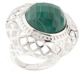 Paola Valentini Sterling Bold Faceted Malachite Ring —