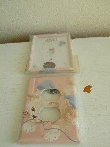 Vintage Pink Kitten Kitten White Wallpaper Switch Plate Cover Wall