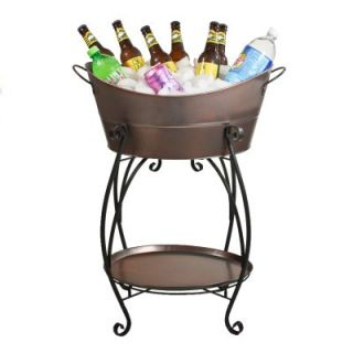 Copper Finish Black Steel Oval Tray Indoor Outdoor Beverage Tub