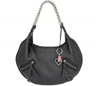 Diva by Dana Buchman Large Leather Hobo Bag with Chain Detail