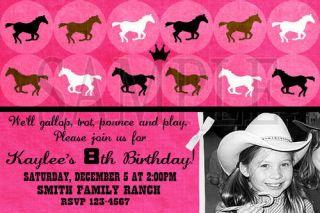 Custom Cowboy Cowgirl Horse Birthday Photo Invitations