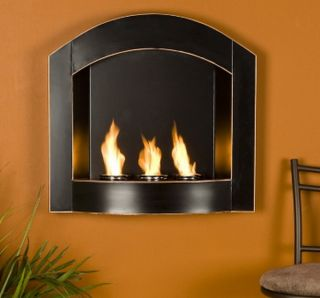 New Wall Mounted Fireplace Heater Gel Fuel Black 27 x 6 x 25 75