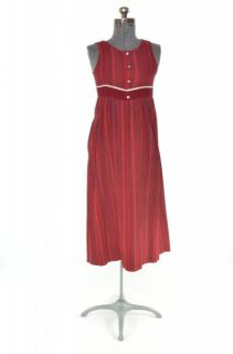 VTG 70′s Teen Jr. Corduroy Maroon Stripe Boho Hippie Babydoll Dress