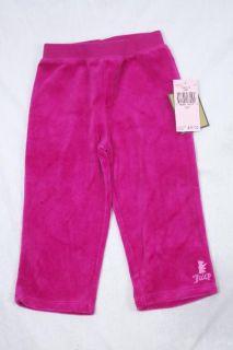 12 MOS NWT Juicy Couture Girls Fuschia Pink Velour Hoodie & Pant Set