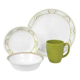 16 PC Corelle Hoola Hoops Dinnerware Set Plate Bowl Cup