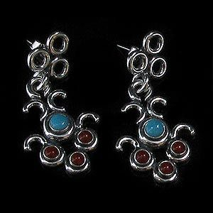 Sterling Silver Turquoise Red Coral Chandelier Earrings
