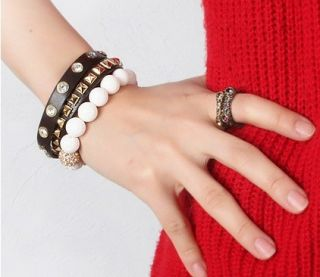 New White Coral Gold Crystal Gemstone Beads Charms Bangle Bracelet
