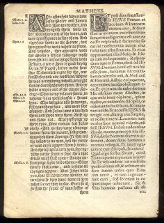 1538 Coverdale 1st Diglot Bible Leaf English Latin RARE Matthew