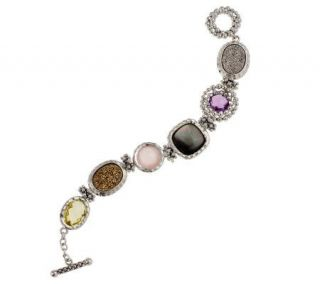 Michael Dawkins Sterling Small Multi Gemstone 12.0 cttw Toggle