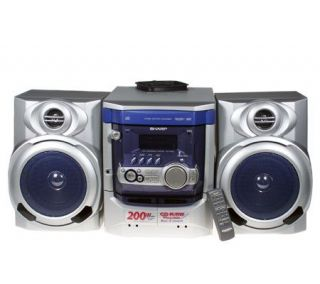 Sharp 200 Watt Shelf Stereo System w/3 CD Changer & Dual Cassette