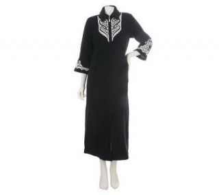 Bob Mackies Embroidered Zip Front Fleece Robe w/Jewel Detail   A209468