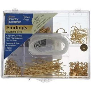 178 PC Jewelry Findings Starter Kit in Storage Box Gold