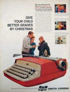 1960 SCM Smith Corona Portable Typewriter Vtg Print Ad