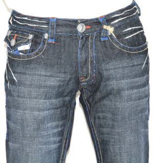 New Mens Laguna Beach Jeans Corona Del Mar Blue Stitch Boot Cut 33
