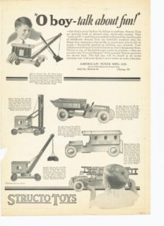 1927 STRUCTO TOYS AMERICAN FLYER TRUCK POLICE FIRE AUTO ART AD